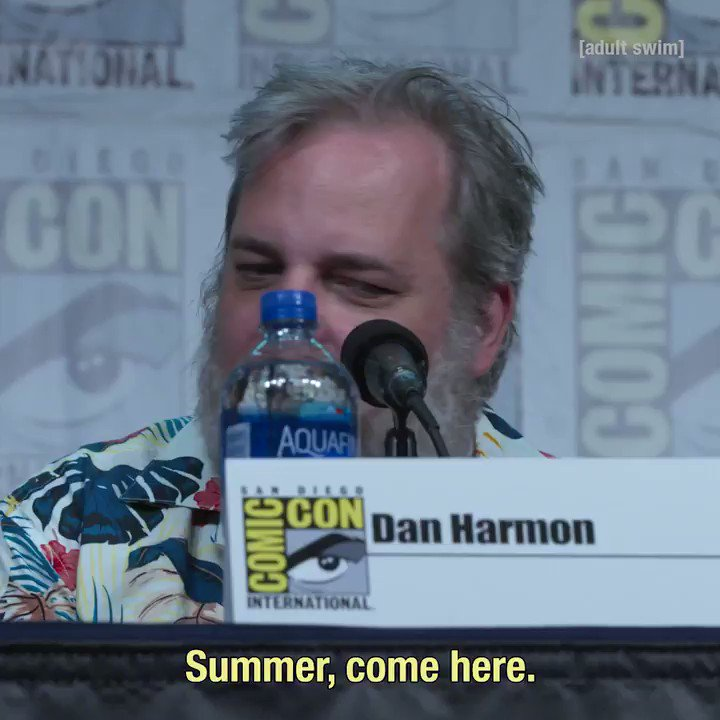 Dan Harmon does his best Summer impression at the #rickandmorty Panel. #SDCC @adultswim