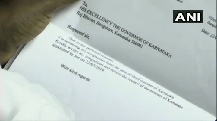 #WATCH Karnataka: A letter seen kept on the table of CM HD Kumaraswamy at Vidhana Soudha, appearing to be his resignation letter. Chief Minister's Office (CMO) says that the letter is fake. (Video source: Karnataka assembly output)
