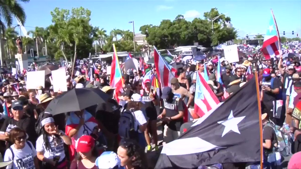 Image for the Tweet beginning: San Juan protests: Thousands pack