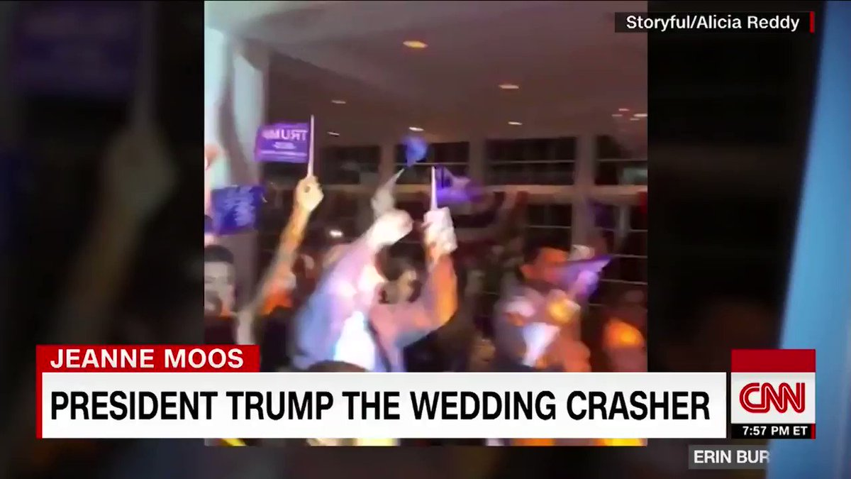 """US President Trump popped into a wedding reception at his golf club in Bedminster, New Jersey, prompting the bride, groom and guests to chant, """"USA! USA!"""" CNN's Jeanne Moos has the details. https://cnn.it/2Yax7mL"""