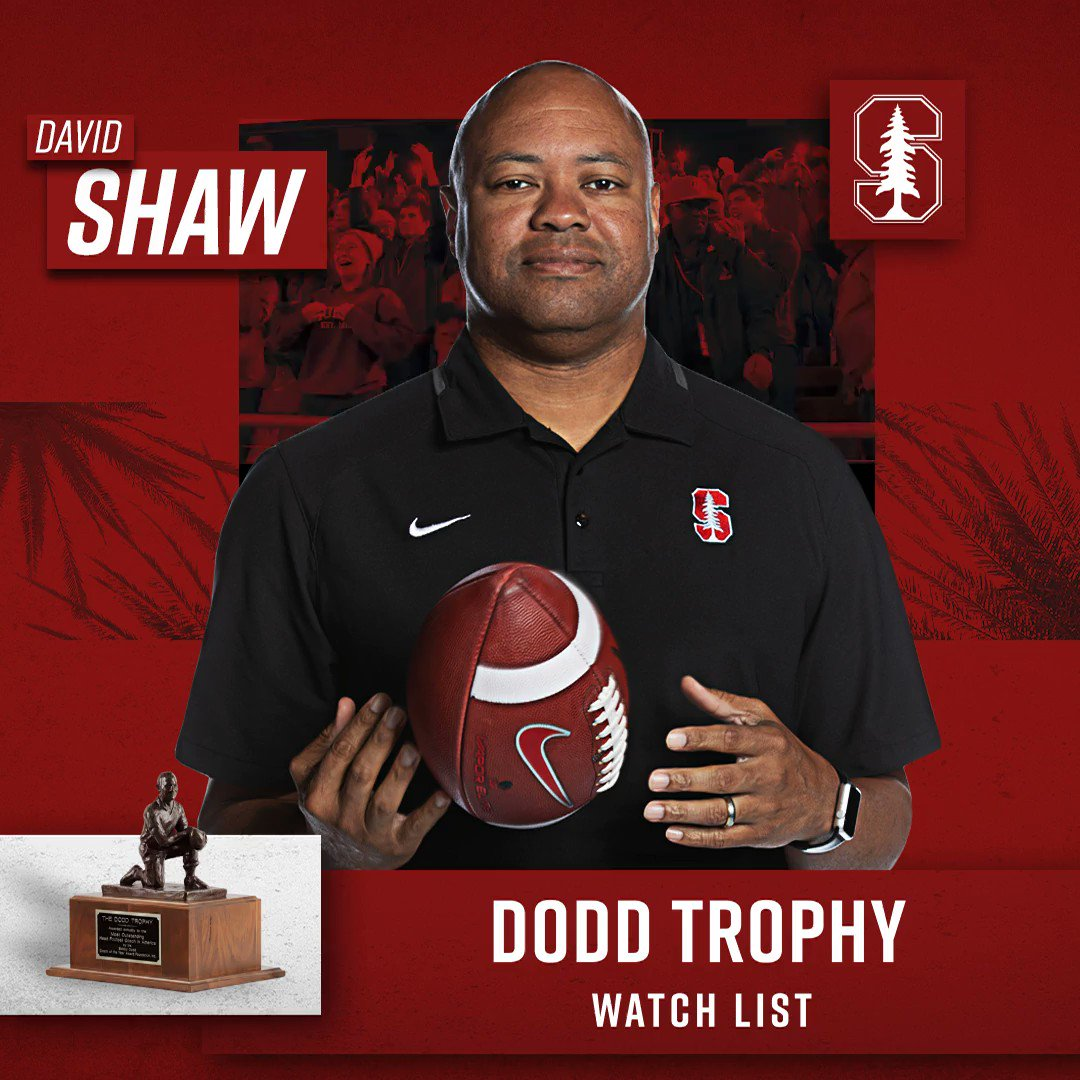 Integrity and leadership describe @CoachDavidShaw perfectly. Hes on the watch list for the 2019 @DoddTrophy. #GoStanford 📖: stanford.io/2Gg0QVh