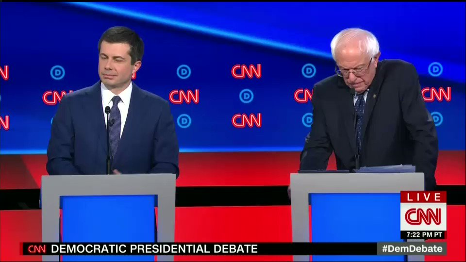 """I don't care how old you are—I care about your vision. We cannot have a vision that amounts to back to """"normal."""" It's the only reason we got this president, that """"normal"""" didn't work. #DemDebate"""