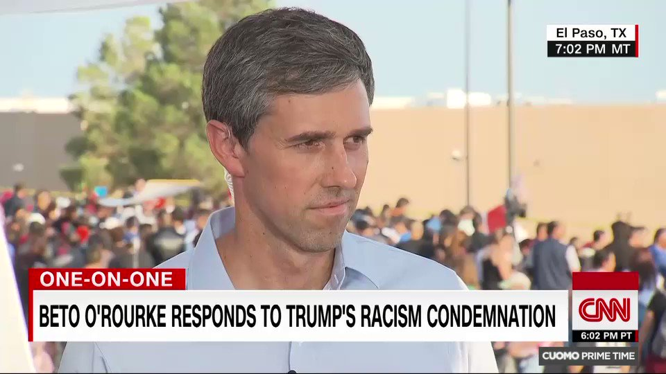 This is the most racist President weve had perhaps since Andrew Johnson in another age and another century, says Democratic presidential candidate and El Paso, Texas, native Beto ORourke. He is responsible for the hatred and the violence that were seeing right now.