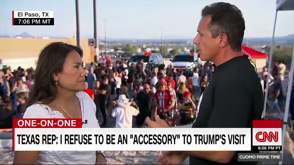 He painted a target on on our back. He put the target on our back. He needs to peel it off. Democratic Rep. Veronica Escobar of Texas says she refuses to be an accessory to President Trumps visit to El Paso. cnn.it/2TaLNRV