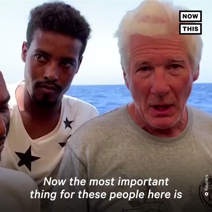 Richard Gere visited a rescue ship carrying over 100 migrants in the Mediterranean