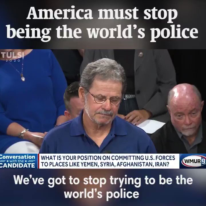 We must stop trying to be the world's police. As your commander-in-chief, I'll end the wasteful regime change wars, work to end the new cold war, bring our troops home, and redirect our precious tax dollars into serving the urgent needs of our people here at home. #TULSI2020