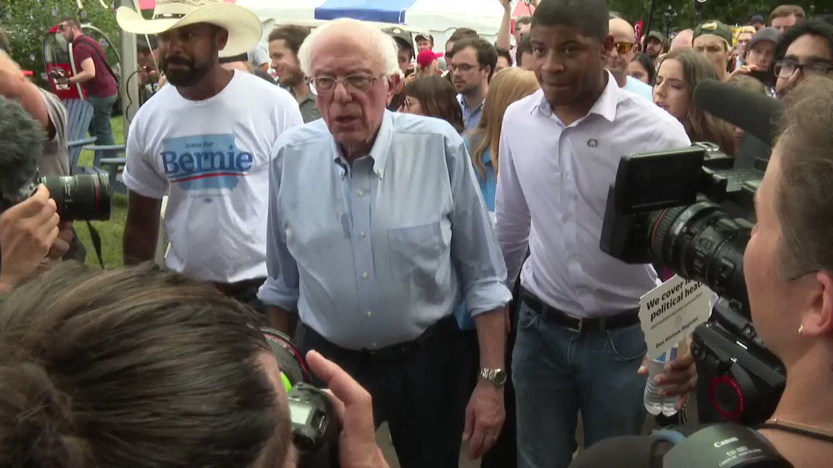 """Guys, be careful that you don't fall on your heads here. Your health insurance probably doesn't cover that."" -@BernieSanders jokes with reporters as we walk backwards and sideways through yesterday's #IowaStateFair"