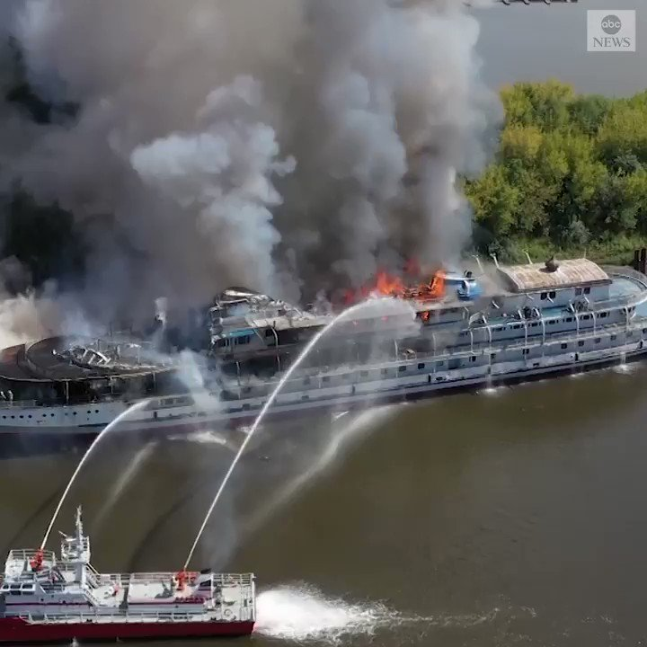 A fire broke out on an unmanned cruise ship known as 'Holy Russia,' while docked on the Volga River. There were no casualties on the ship, which was decommissioned in 2015 and planned to be dismantled, and the fire is under investigation. https://abcn.ws/31yYFV2