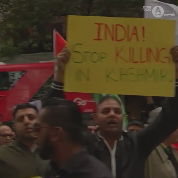 Crowds gathered in central London to protest against the Indian government's actions over Kashmir.