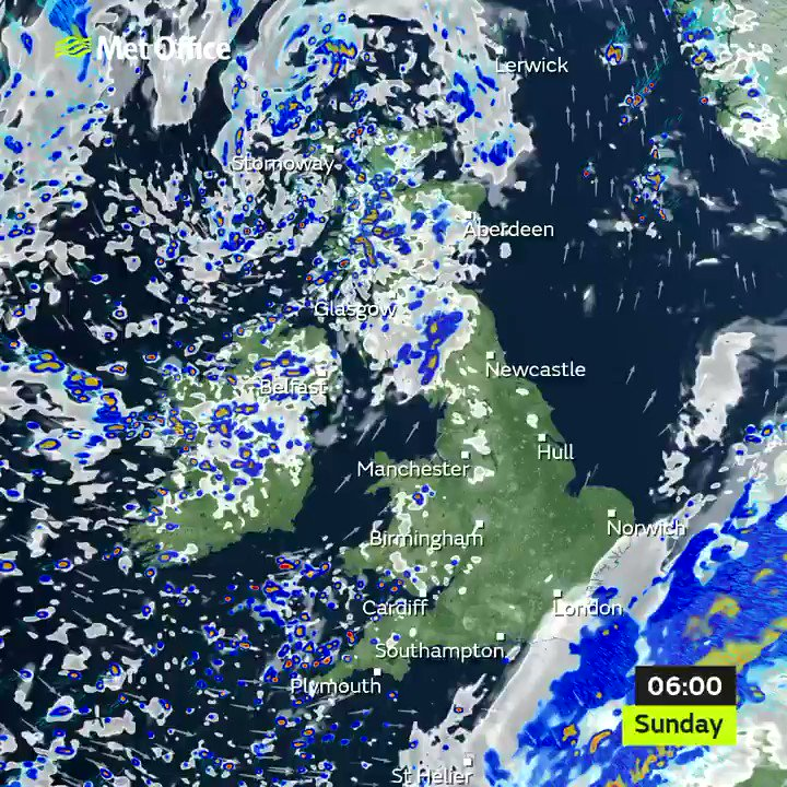 Up early on Sunday morning? 🌅 Rain will quickly clear the southeast, to leave sunny spells and blustery showers across the country 🌤️