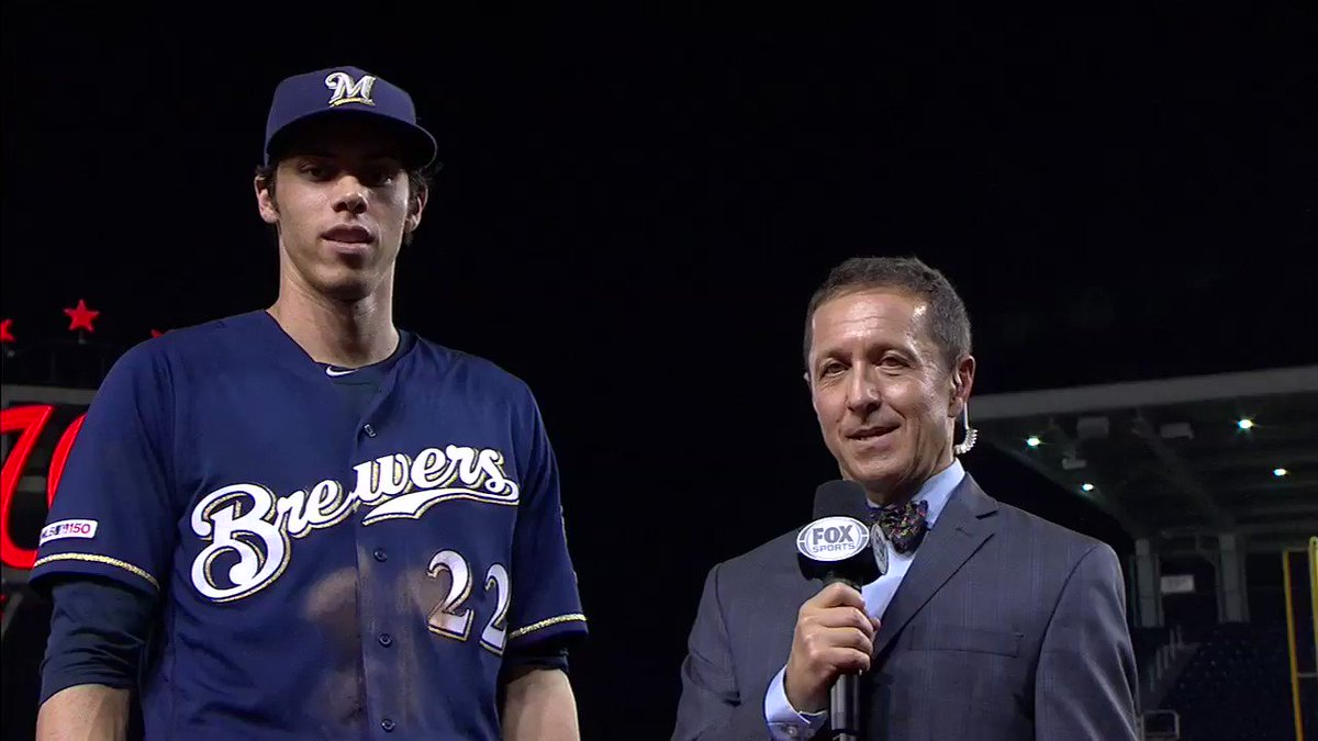 .@Ken_Rosenthal caught up with Mr. MVP himself @ChristianYelich after his 5-for-6 2HR 4RBI performance leading the Brewers to a 15-14 win over the Nationals: