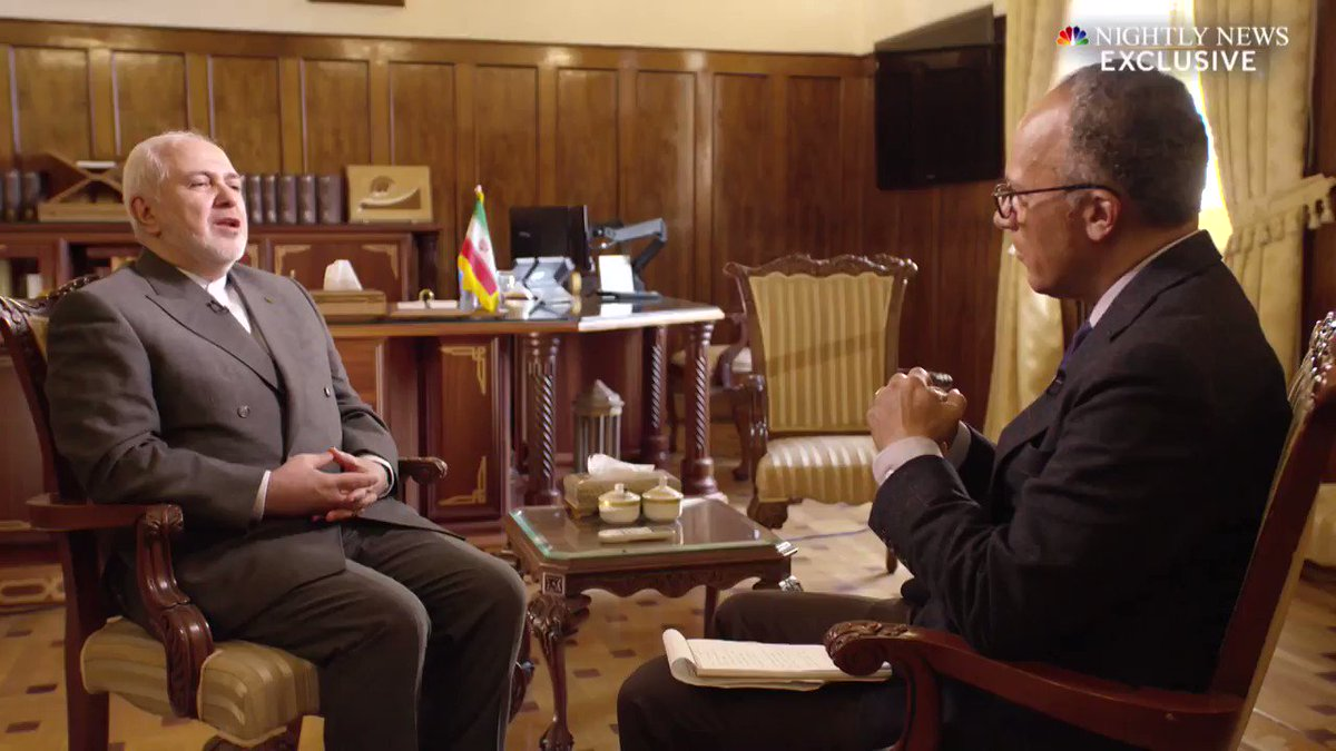 TONIGHT: @LesterHoltNBC talks to Iranian Foreign Minister Mohammad Javad Zarif about escalating tensions with the U.S.  It's his first interview with a United States news outlet since the U.S. imposed sanctions on him.  More tonight on @NBCNightlyNews at 6:30 ET / 5:30 CT on NBC. https://t.co/NOi4IDEREW