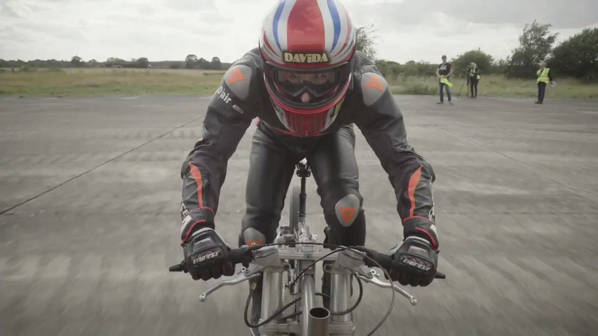 """This man broke a cycling speed record, hurtling down a runway at over 174 miles per hour on a custom-made bike in what he called the """"biggest rush you'll ever experience."""" https://t.co/xumRVG1hOJ https://t.co/eRLl0ZGtPe"""