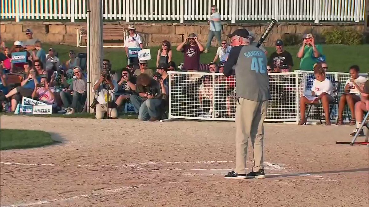 Bernie Sanders Takes The Field In Softball Game At Iowa's 'Field Of Dreams'