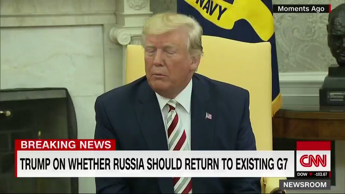 President Trump on Russia returning to the existing G7: I think its much more appropriate to have Russia in. It should be the G8  https://cnn.it/2zatOlx