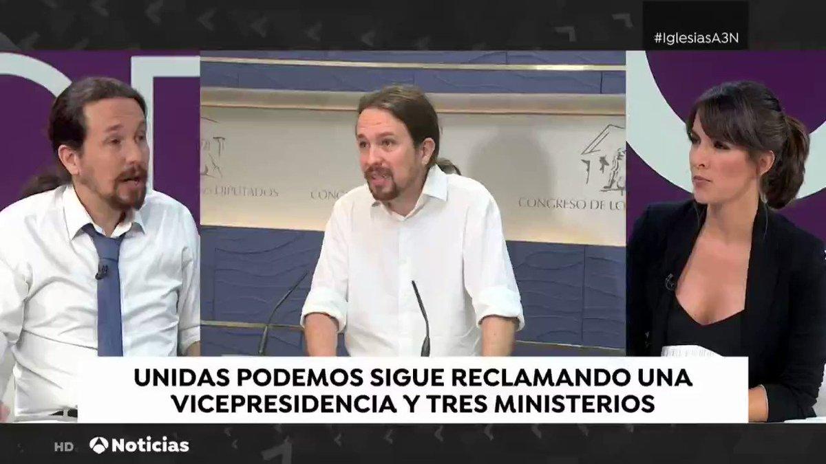 📺 Si el único obstáculo para un Gobierno de coalición era que yo no estuviera, ya dije que me echaba a un lado. Es grave que se vete al cantidato de una fuerza política, pero no les daremos esa excusa. @Pablo_Iglesias_ #IglesiasA3N