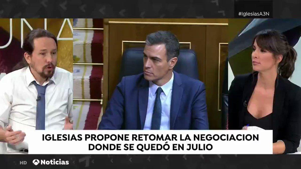 """📺 """"Nuestra posición con respecto a Cataluña nunca será una línea roja y lo que estamos proponiendo es que haya diálogo. Y yo creo que el PSOE está a favor del diálogo en Cataluña"""". @Pablo_Iglesias_ #IglesiasA3N"""