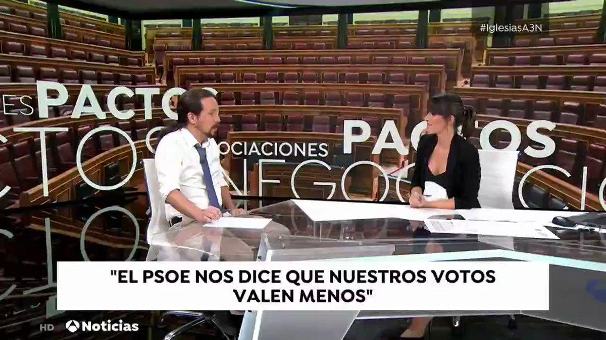 """📺 """"Hay que dejar los reproches atrás y hablar del futuro. Pero nadie entendería que el PSOE ofreciese un Gobierno de coalición en julio y en agosto ofrezca otra cosa. Quien tiene la responsabilidad de no volver a unas elecciones es Sánchez"""". @Pablo_Iglesias_ #IglesiasA3N"""
