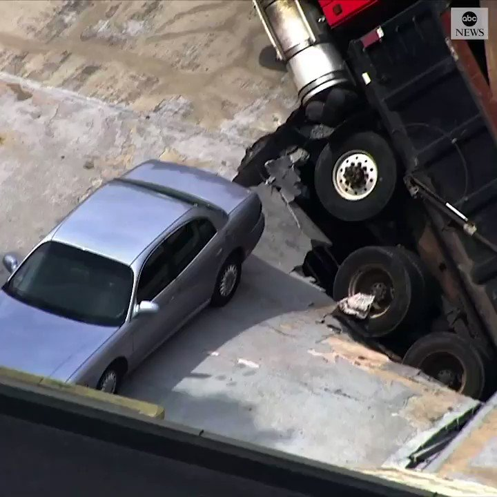 NO PARKING: Helicopter footage shows a dump truck stuck in the roof of a parking garage after falling in. Nobody was injured in the collapse, police said. https://abcn.ws/31RwxN4