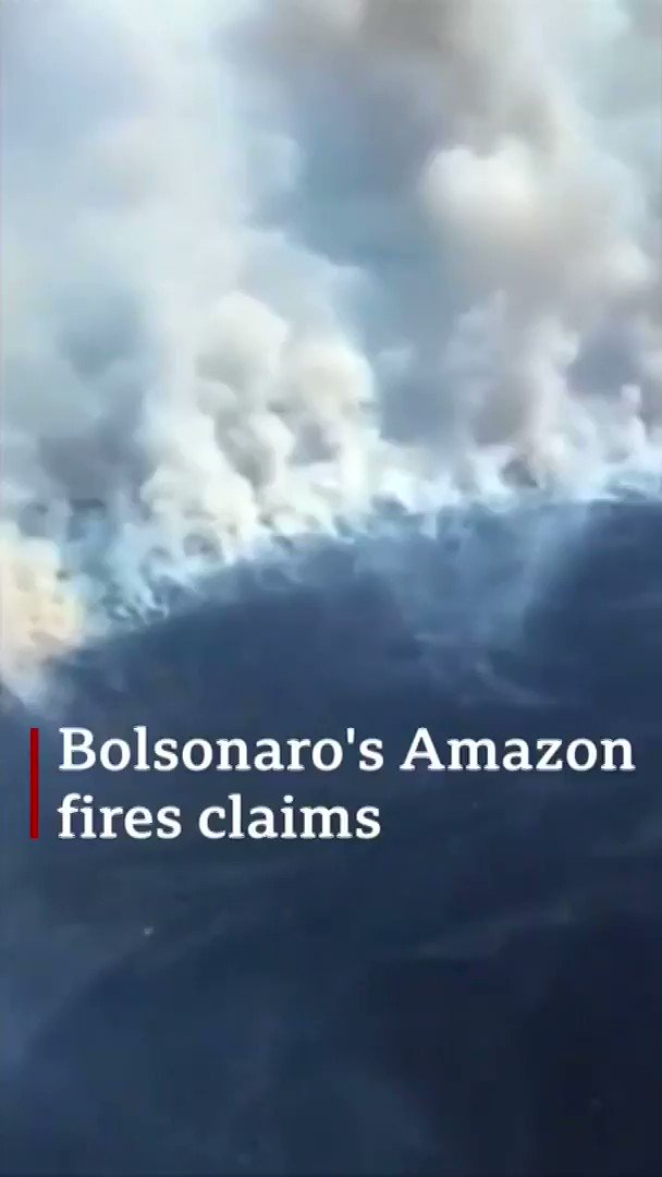 Brazil's president claims non-governmental organisations are setting fires in the Amazon to embarrass the government after funding cuts[Tap to expand] https://bbc.in/2zb2aou