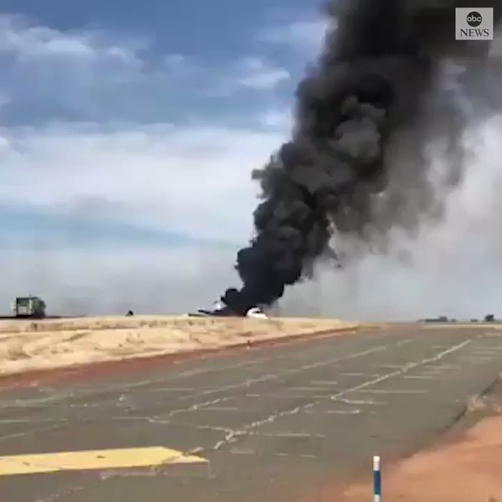 FIERY CRASH: All 10 people aboard a twin-engine jet escaped injury after the aircraft aborted its takeoff at a small Northern California airport, went off the runway and burst into flames, officials say. https://abcn.ws/31OwxNM