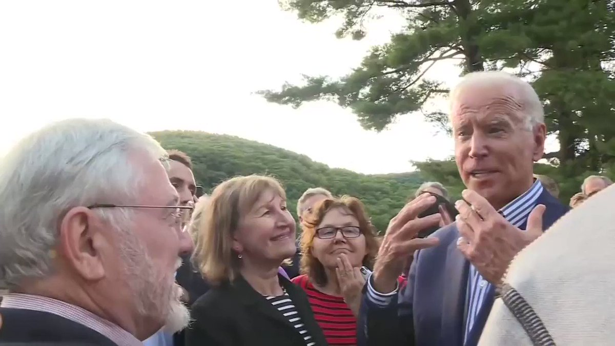 Joe Biden speaks to supporters at a community event in Croydon, New Hampshire.