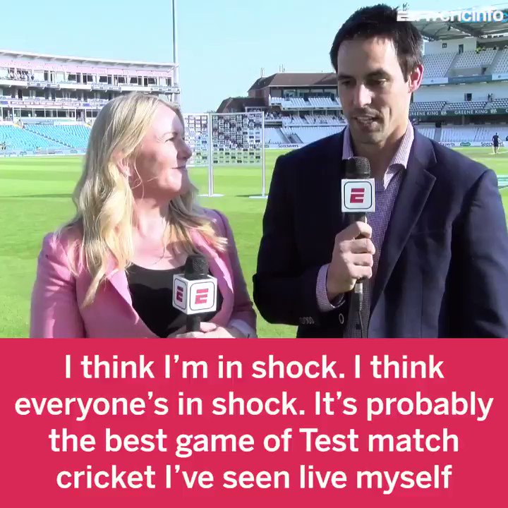 Probably the best game of Test match cricket Ive seen live myself. Headingley 2019 has left Mitchell Johnson in shock! #ENGvAUS #Ashes