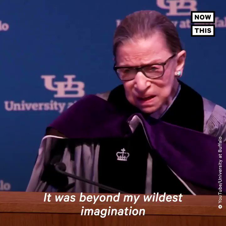 BREAKING: Supreme Court Justice Ruth Bader Ginsburg has died at age 87 from complications of cancer.   She gave this speech at the University of Buffalo after receiving cancer treatment in 2019. https://t.co/eEuZ3mQvZz