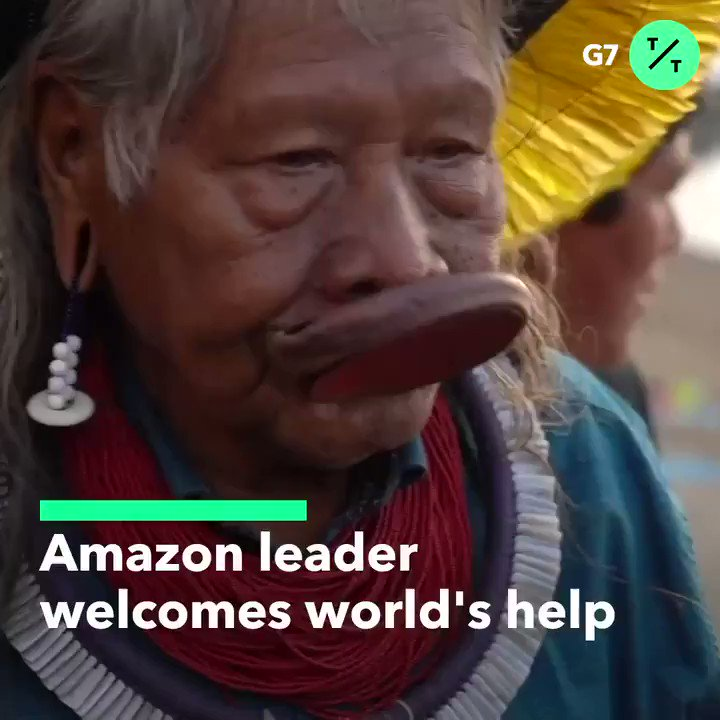 Amazon tribal Chief Raoni Metuktire has been nominated for a Nobel Peace Prize for his efforts to protect the rainforest.During the #G7, he thanked France's President Macron for highlighting the #AmazonFires @NobelPrize #NobelPrize  @tictoc