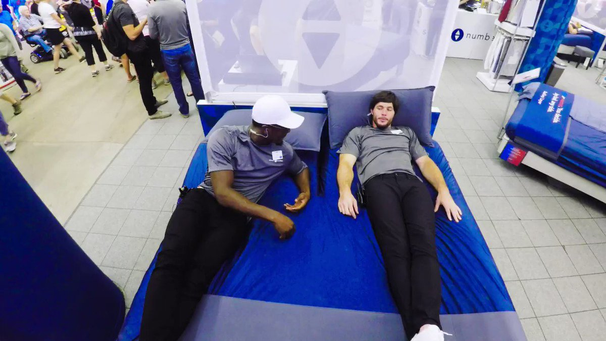 The #Vikings had the day off so @harrismith22 & @XavierRhodes29_ went undercover at the @mnstatefair to sell our 360 smart beds. 😂