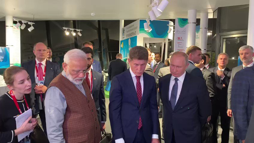 I am grateful to my friend, President Putin for taking me around the 'Far East Street' exhibition this evening. This brief conversation shows his passion towards sports, even those popular in India :)