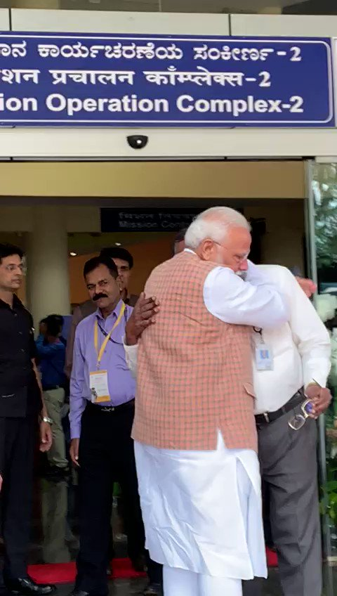 Replying to @ANI: #WATCH PM Narendra Modi hugged and consoled ISRO Chief K Sivan after he(Sivan) broke down. #Chandrayaan2