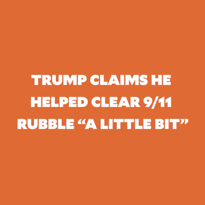 18 years ago, while first responders sacrificed their lives at Ground Zero, Trump was busy bragging about his building being the tallest in NYC. Unbelievable.