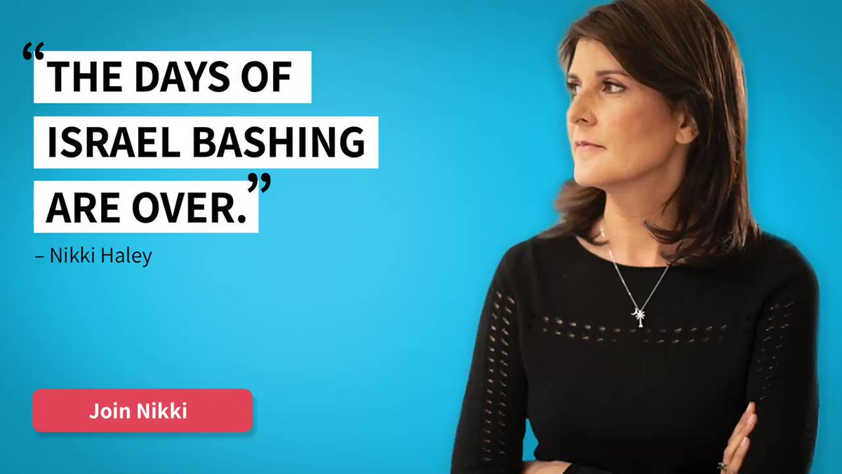 Click & follow us today! Follow Amb. Nikki Haley's non-profit organization, Stand For America. It's time to end the Israel-bashing now!