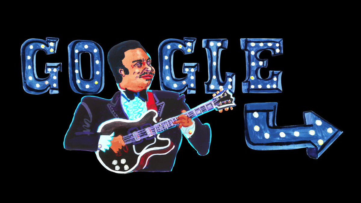 """The thrill is gone, but B.B. King's legacy lives on. Today's #GoogleDoodle pays homage to the """"King of the Blues"""" who inspired generations with his beloved guitar, Lucille, by his side. Happy 94th birthday, B.B. King!"""