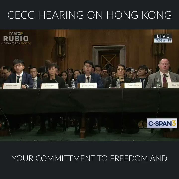 """Senator Rubio during #HongKong @CECCgov hearing: """"China's leaders must either respect Hong Kong's autonomy or know that their escalating aggression will lead them to face real consequences — not just from the United States, but from the free world."""""""