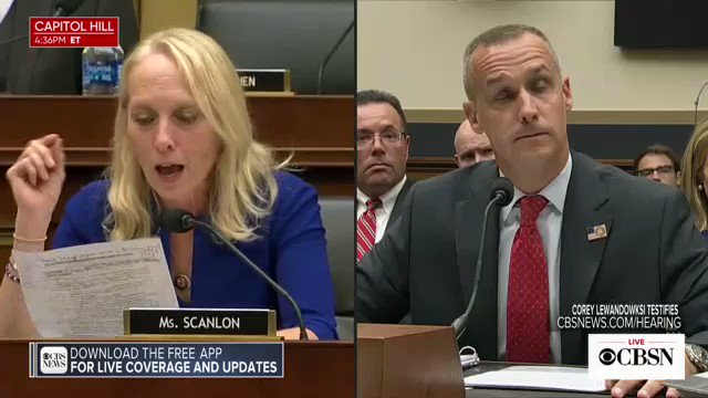 """""""On the same day that you were subpoenaed to appear before this committee, August 15, the president did indicate that he's going to support your senate campaign, didnt he?"""" Rep. Scanlon asked.   """"I'm not sure,"""" Lewandowski said  https://cbsn.ws/2mhKvIw"""