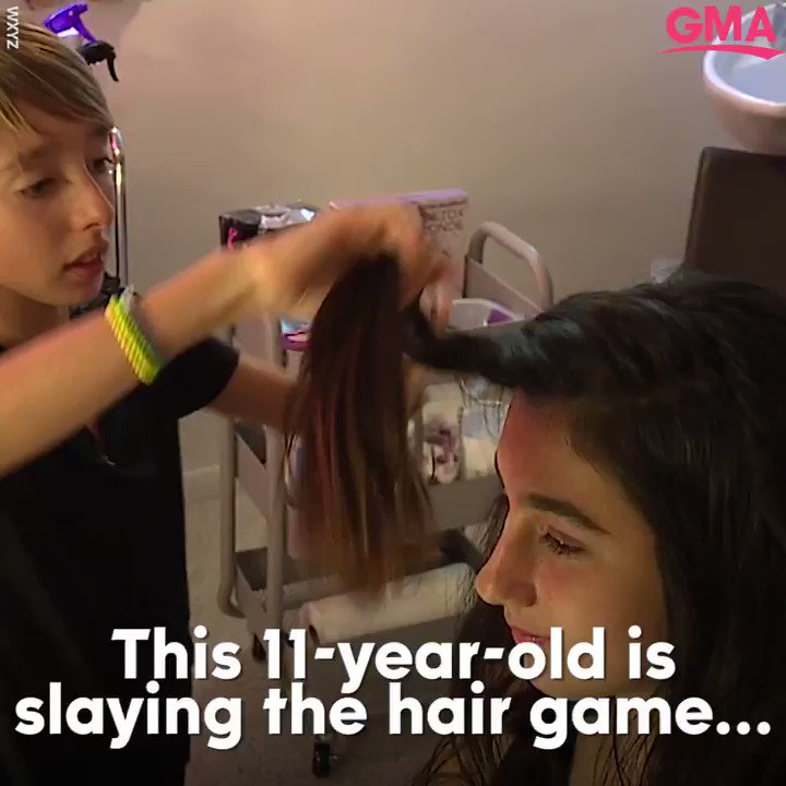 """""""People should do what they love."""" This 11-year-old boy opened a salon in parents' basement. https://gma.abc/2moIr1x"""