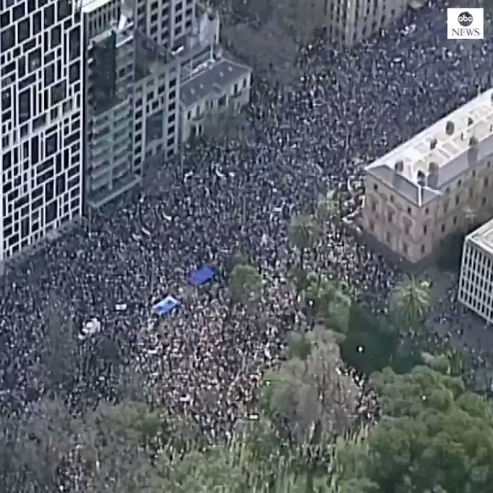 Aerial footage shows thousands of protesters in Melbourne, Australia, at the start of a day of worldwide demonstrations calling for action on climate change. abcn.ws/30C0Jup