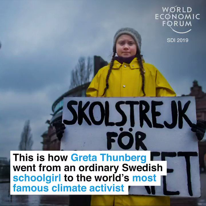 """No one is too small to make a difference"". This is how Greta Thunberg went from Swedish school girl to global climate champion. Such an impressive journey! 👍👍👍"