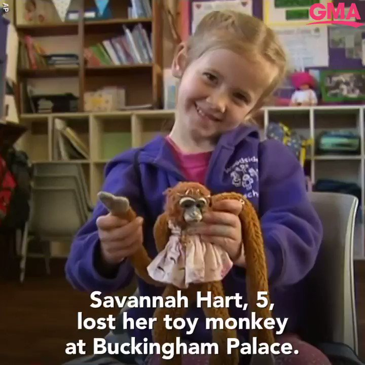 5-year-old Savannah was heartbroken when her stuffed monkey went missing during a visit to Buckingham Palace, so she wrote a letter to Queen Elizabeth II to ask for help finding her favorite toy.  https://gma.abc/2Qlt5tg