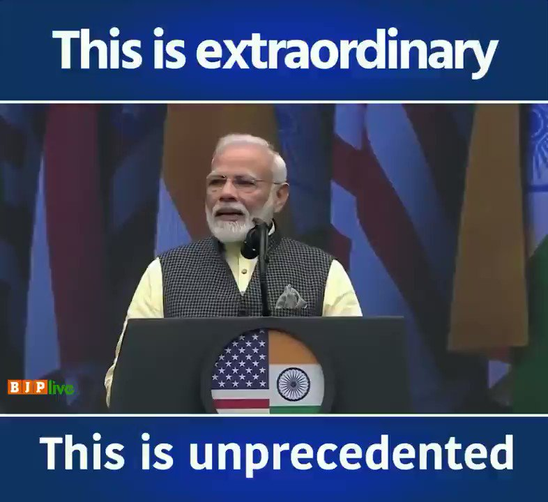 While the media is trying to paint Trump as a racist 100,000 Indian Americans give him multiple standing ovations after an incredible speech from Prime Minister Modi  Media is lying to you  Trump is more popular than ever before  He will win in 2020!