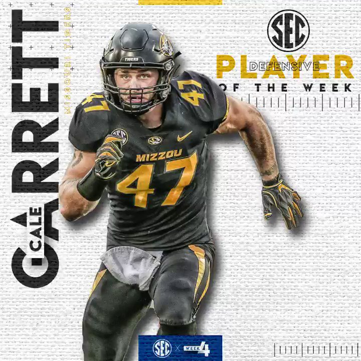 #SECFB Defensive Player of the Week: @cale_garrett Full list » bit.ly/2mddsFm