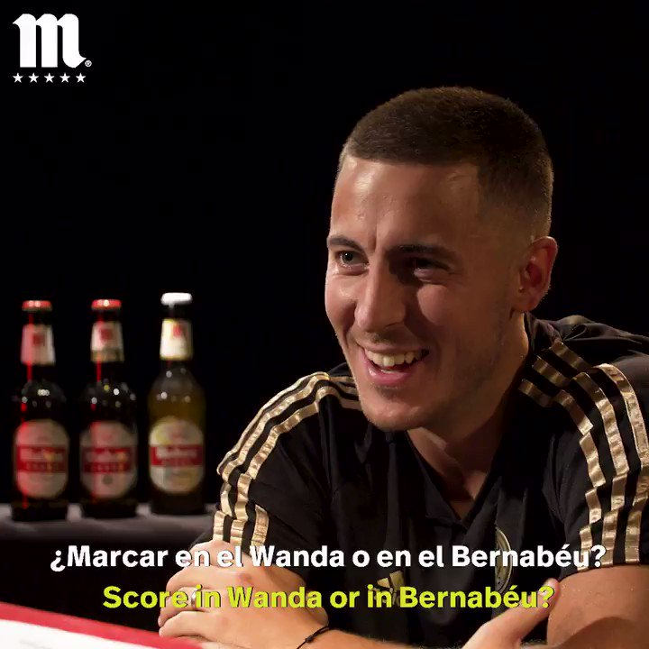 One word that  @hazardeden10 uses to describe a derby match? Find out in his quickfire Q&A with  @futbolmahou ahead of Saturday's  #RMDerbi!  #ElSaborQueNosUne |  #HalaMadrid
