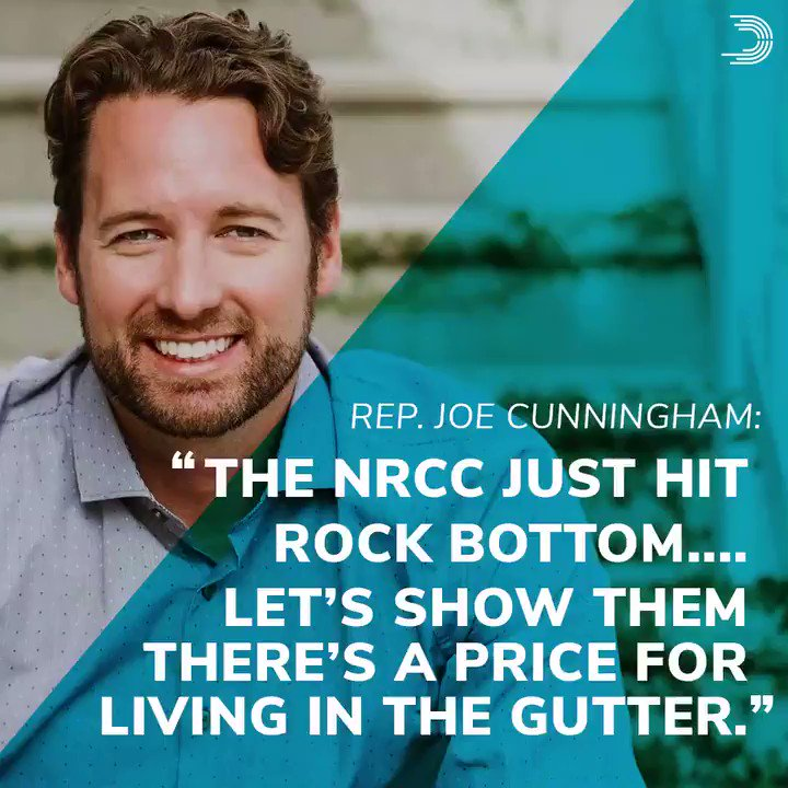 There is no place in our politics for the @NRCC's despicable attack on Rep. @JoeCunninghamSC and his wife, Amanda. RT to stand with the Cunninghams and denounce the NRCCs hateful rhetoric. #SC01