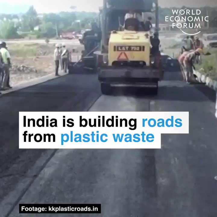 India 🇮🇳 has built 21,000 miles of road ways using plastic waste.