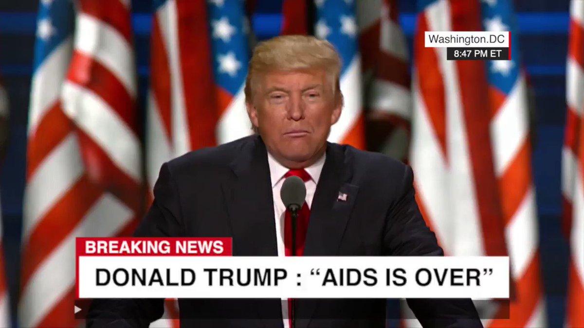 « Le sida, c'est fini ». L'annonce choc de Trump met en émoi la planète...  Et nous aussi. #treatment4all #endAIDS