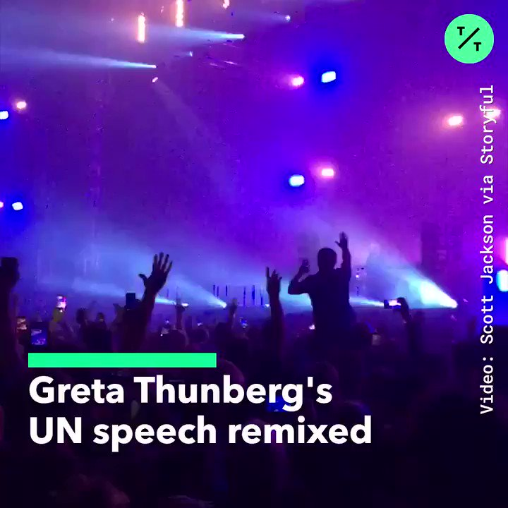 """🎧 SOUND ON: @GretaThunberg's powerful UN speech was sampled by @FatboySlim in a remix of his 1998 hit, """"Right Here Right Now"""""""