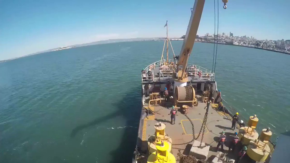 Heres a behind the scenes look as #USCG Cutter George Cobb places one of the bouys that will mark the perimeter of the safety zone for the @USNavys @BlueAngels air show scheduled for this weekend in San Francisco.