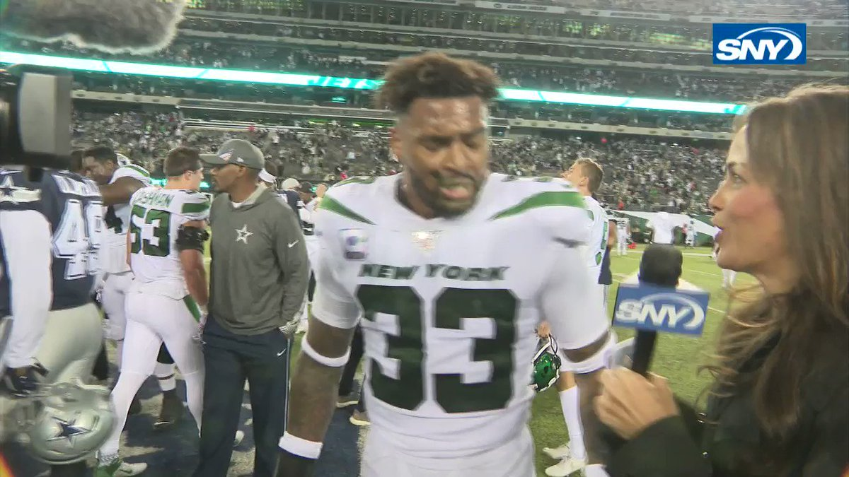 """""""Keep believing, keep the faith, go Jets!""""  @TheAdamsEra breaks down his clutch stop on the two-point conversion with @JeaneCoakley:"""
